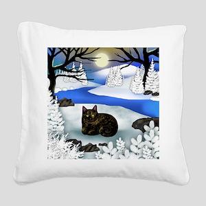 Tortoiseshell cat frozen rive Square Canvas Pillow