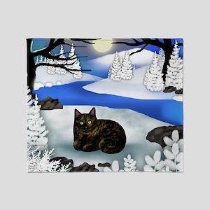 Tortoiseshell cat frozen river Throw Blanket