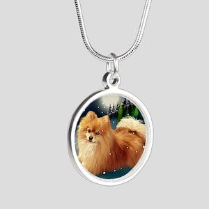 POMERANIAN DOG MOUNTAIN Silver Round Necklace