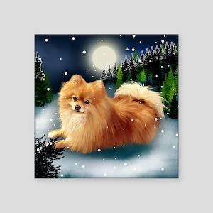 "POMERANIAN DOG MOUNTAIN Square Sticker 3"" x 3"""