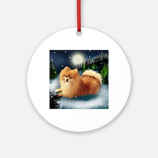 POMERANIAN DOG MOUNTAIN Round Ornament