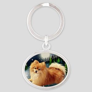 POMERANIAN DOG MOUNTAIN Oval Keychain