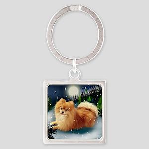 POMERANIAN DOG MOUNTAIN Square Keychain