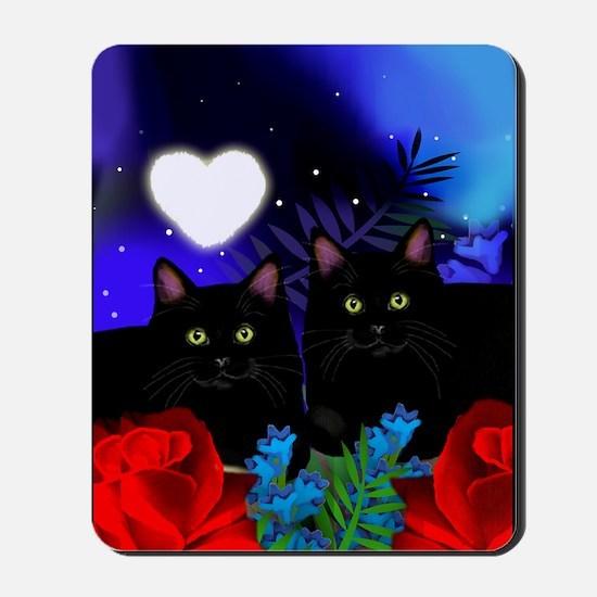 Black Cats Moon Heart Mousepad