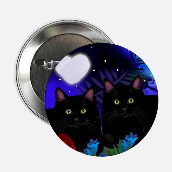 "Black Cats Moon Heart 2.25"" Button"