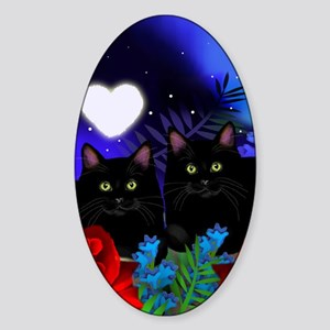 Black Cats Moon Heart Sticker (Oval)
