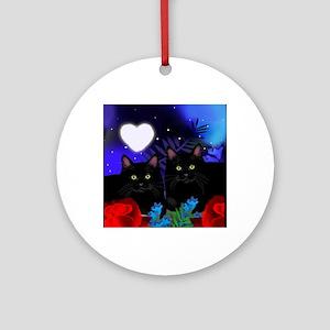 Black Cats Moon Heart Round Ornament