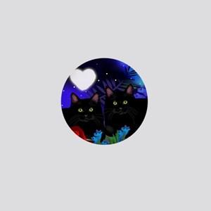 Black Cats Moon Heart Mini Button