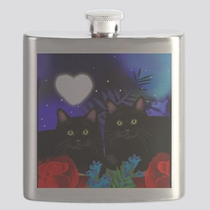 Black Cats Moon Heart Flask