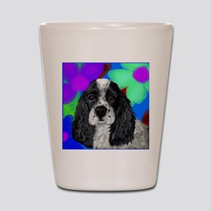 parti cocker spaniel Shot Glass