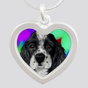 parti cocker spaniel Silver Heart Necklace