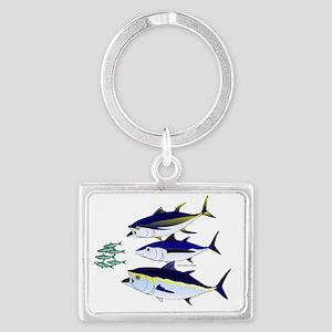 Three Tuna Chase Sardines fish Landscape Keychain