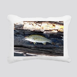 Woody Smallmouth Bass Rectangular Canvas Pillow