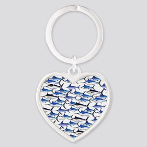School of Marlin and Swordfish 1a Heart Keychain