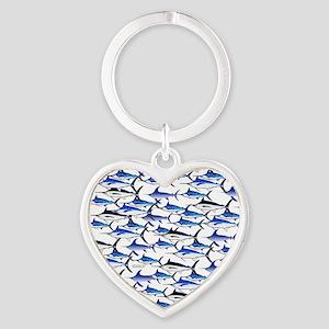 School of Marlin and a Swordfish Heart Keychain