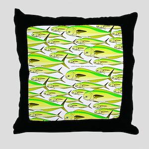 School of Mahi Dolphin fish portrait Throw Pillow