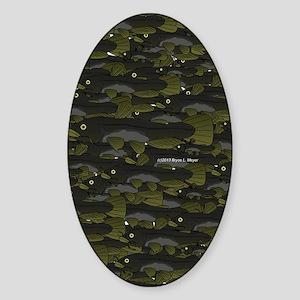 Black Bullhead catfish School Patte Sticker (Oval)