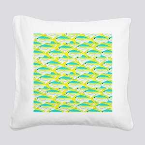 Yellowtail Snapper fish patte Square Canvas Pillow