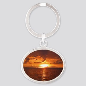 Sunset at Ft Desoto over Gulf of Mex Oval Keychain