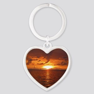 Sunset at Ft Desoto over Gulf of Me Heart Keychain
