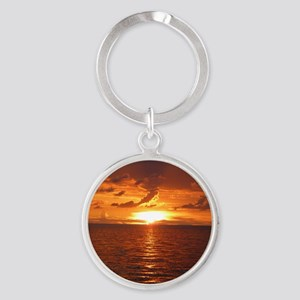 Sunset at Ft Desoto over Gulf of Me Round Keychain