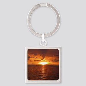 Sunset at Ft Desoto over Gulf of M Square Keychain
