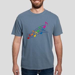 Rainbow Music Notes Mens Comfort Colors Shirt