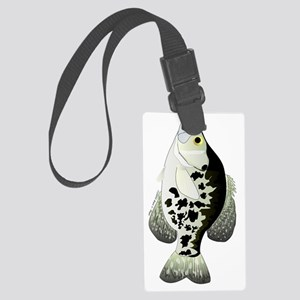 Black Crappie vt Large Luggage Tag