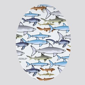 School of Sharks n Oval Ornament