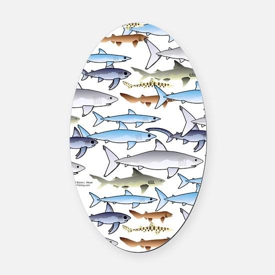 School of Sharks n Oval Car Magnet