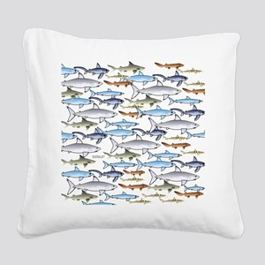 School of Sharks t Square Canvas Pillow