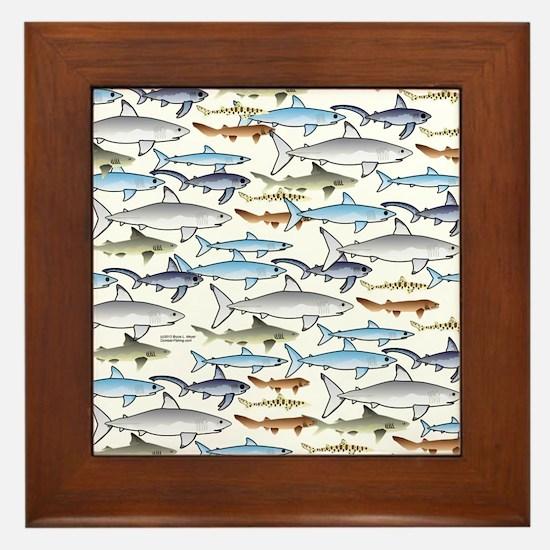 School of Sharks t Framed Tile