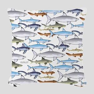 School of Sharks t Woven Throw Pillow