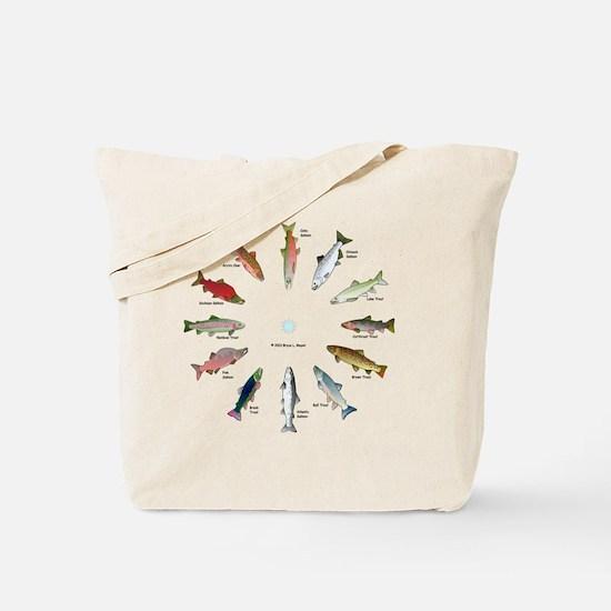 North American Salmon and Trouts Clocks Tote Bag