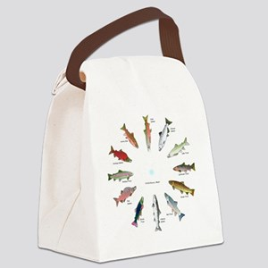 North American Salmon and Trouts  Canvas Lunch Bag