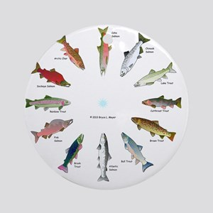North American Salmon and Trouts Cl Round Ornament