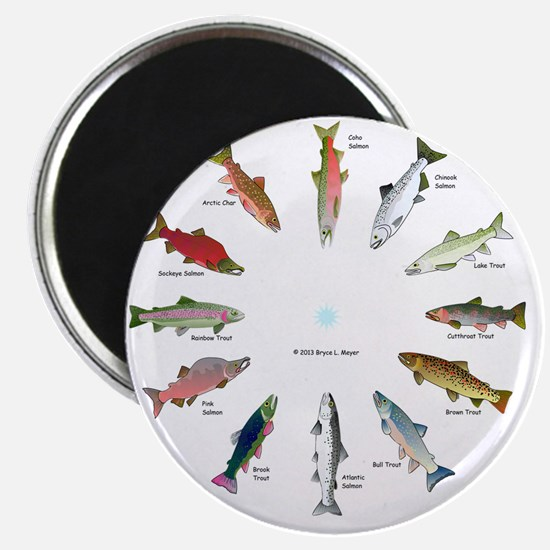 North American Salmon and Trouts Clocks Magnet
