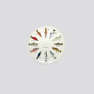 North American Salmon and Trouts Clock Mini Button