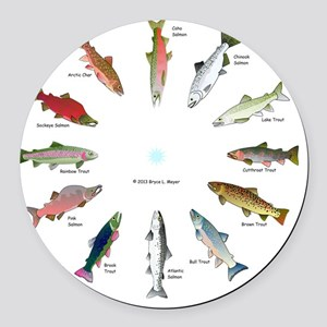 North American Salmon and Trouts  Round Car Magnet