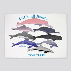 Lets All  Swim Together 8 Dolphins  5'x7'Area Rug
