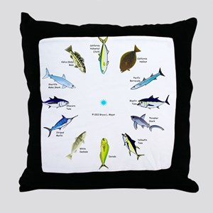 Southern California Sportfishing Cloc Throw Pillow