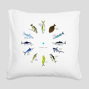 Southern California Sportfish Square Canvas Pillow