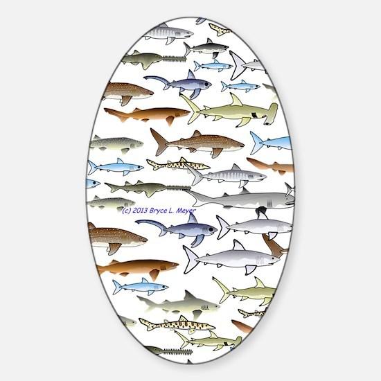 school of sharks 2V1 Sticker (Oval)