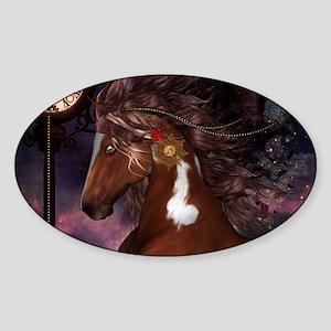 Steampunk Wonderful wild horse with clocks and gea