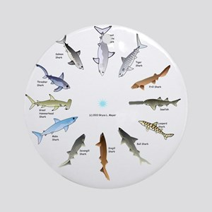 Shark Clock Two Round Ornament
