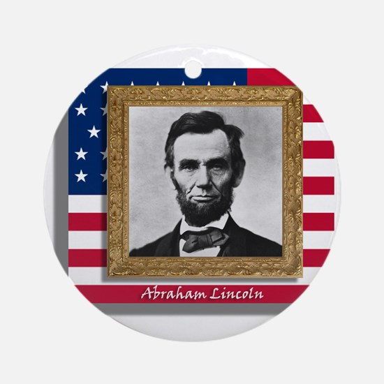 Lincoln in Frame Round Ornament