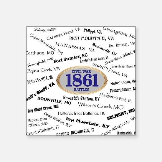 "Battles - 1861 Square Sticker 3"" x 3"""