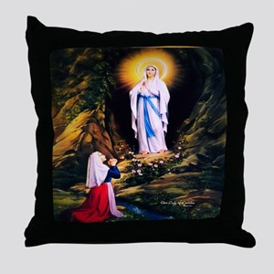 Our Lady of Lourdes 1858 Throw Pillow