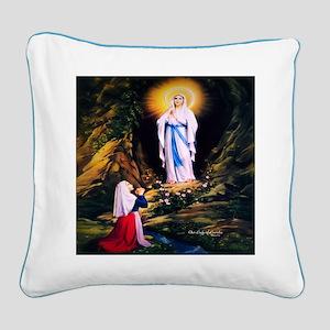 Our Lady of Lourdes 1858 Square Canvas Pillow