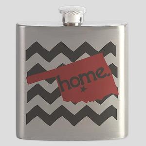 Oklahoma HOME State Crimson Flask